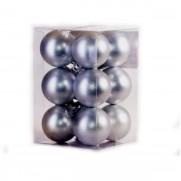 Набор шаров 5 см, 12 шт., серебро матовый