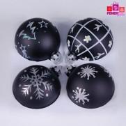 Набор шаров, 8см/4 шт., черный, с различным декором, матовая поверхность, стекло JNG140503