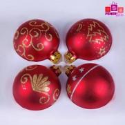 Набор шаров, 8см/4 шт., красный, с  различным декором, матовая поверхность, стекло JNG140505