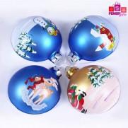 Набор шаров, 8см/4 шт., с  различным декором, матовая поверхность, стекло JNG140506
