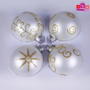 Набор шаров, 8см/4 шт., серебро, с  различным декором, матовая поверхность, стекло JNG140504