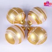 Набор шаров, 8см/4 шт., золото, с различным декором, матовая поверхность, стекло JNG140501