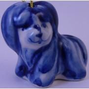 Елочная игрушка Болонка гжель 4см G0404