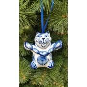 Елочная игрушка Авторская Кот с сардельками гжель 9 см G0513