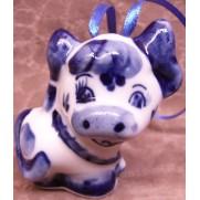 Елочная игрушка Буренка гжель 6см G0709