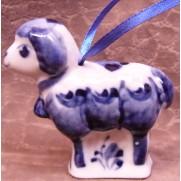 Елочная игрушка Барашек с колокольчиком гжель 6,5 см G0714