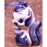 Елочная игрушка Белка средняя гжель 7,5 см G1010