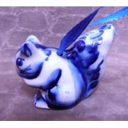 Елочная игрушка Белка гжель 4,5 см G1011