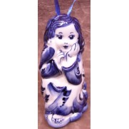 Елочная игрушка Ангел с голубем гжель 9 см G1201