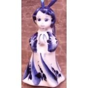Елочная игрушка Ангел в платье гжель 8 см G1203