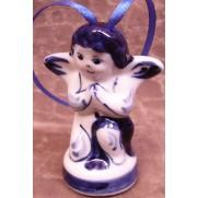 Елочная игрушка Ангел маленький гжель 7 см G1204