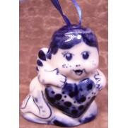 Елочная игрушка Ангел с сердцем гжель 6 см G1205