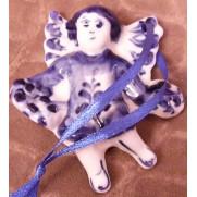 Елочная игрушка Ангел летит плоский гжель 7,5 см G1206
