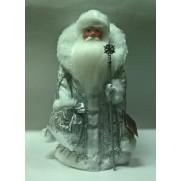 Дед Мороз под елку в серебряной шубе с воротником 34см (арт. д34-003б 025)