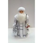 Дед Мороз Воевода в серебряной шубе 34см (арт. д34-001б 055)