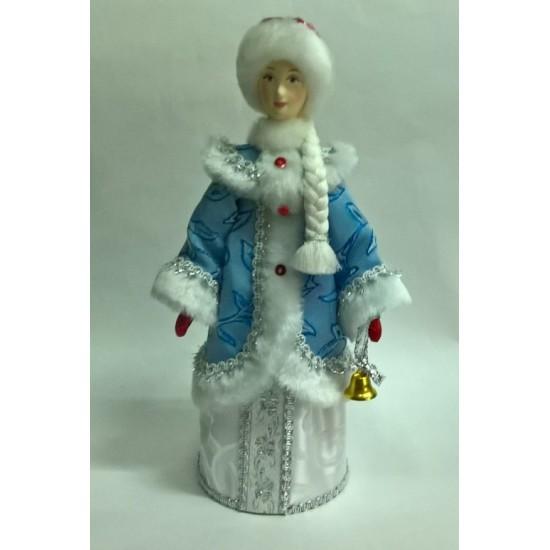 Снегурочка из ткани с колокольчиком в голубой шубке с29-002 162